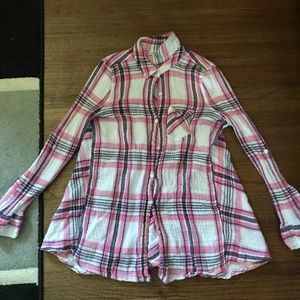 Motherhood Maternity pink plaid button up shirt